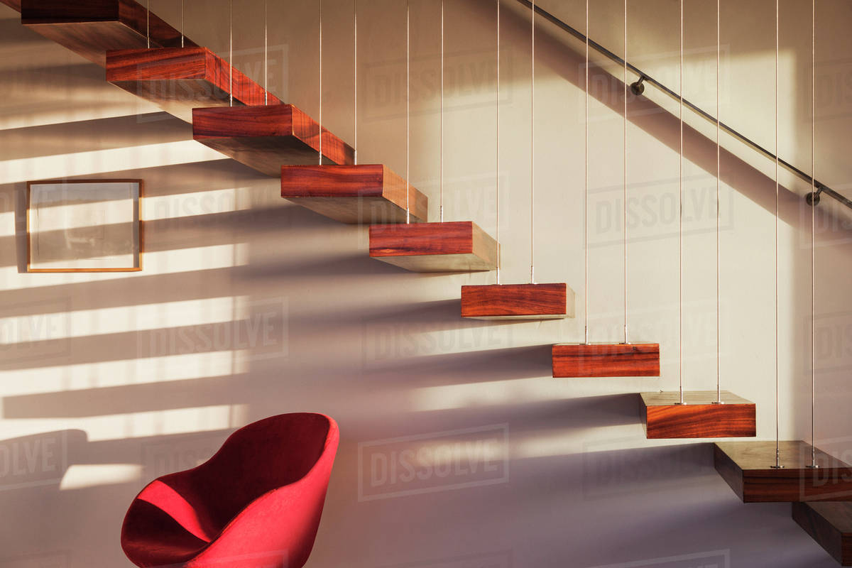 Floating staircase in modern house
