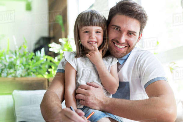Portrait smiling father and daughter Royalty-free stock photo