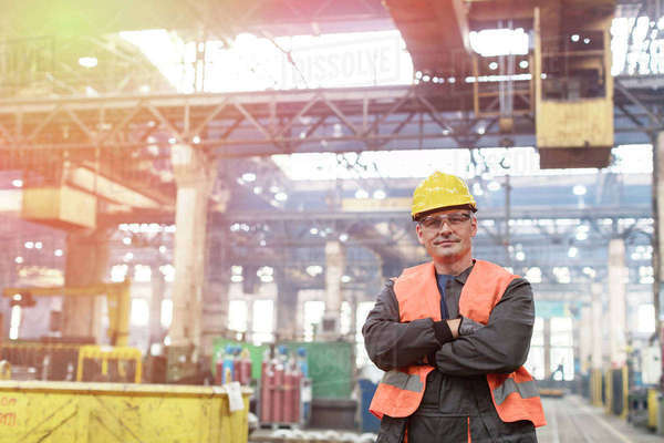 Portrait confident steel worker in factory Royalty-free stock photo