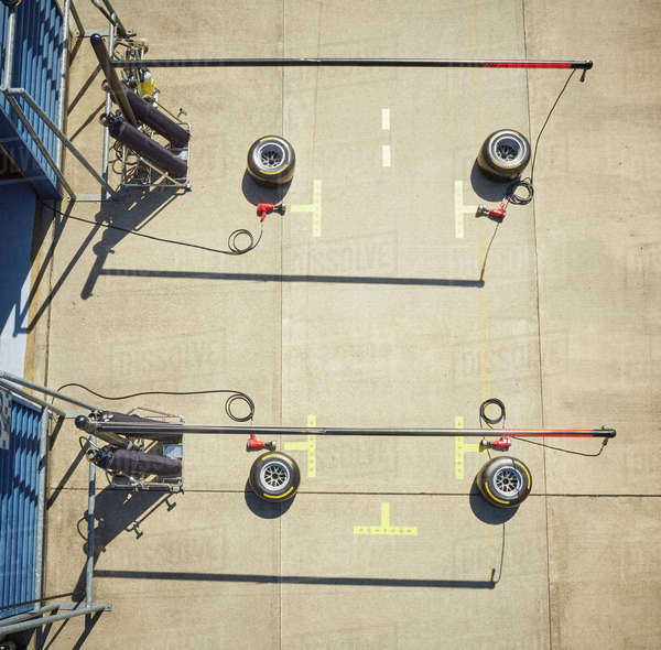 Overhead view pit stop equipment Royalty-free stock photo