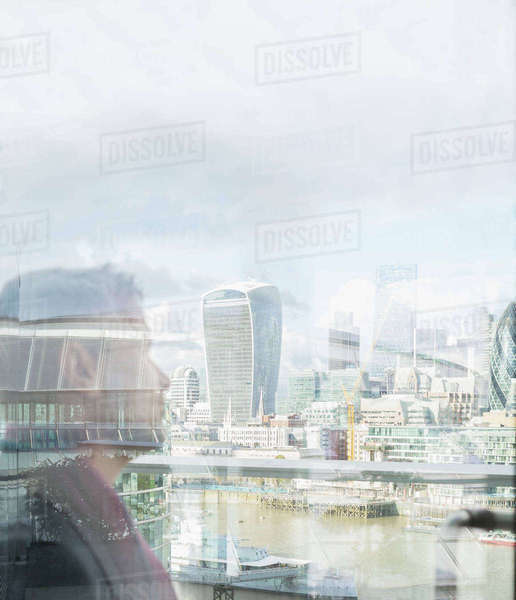 Pensive businessman looking at urban city view, London, UK Royalty-free stock photo