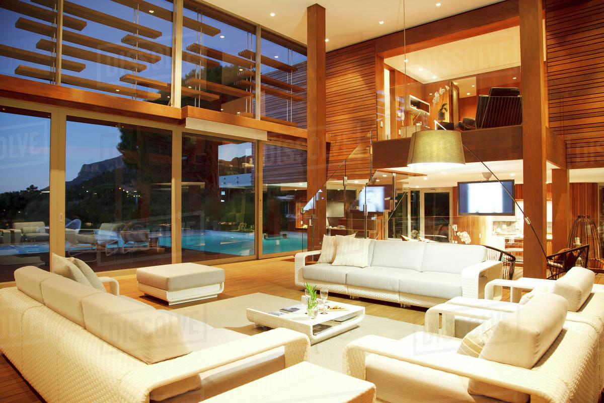 Illuminated Modern Living Room At Night D9857862
