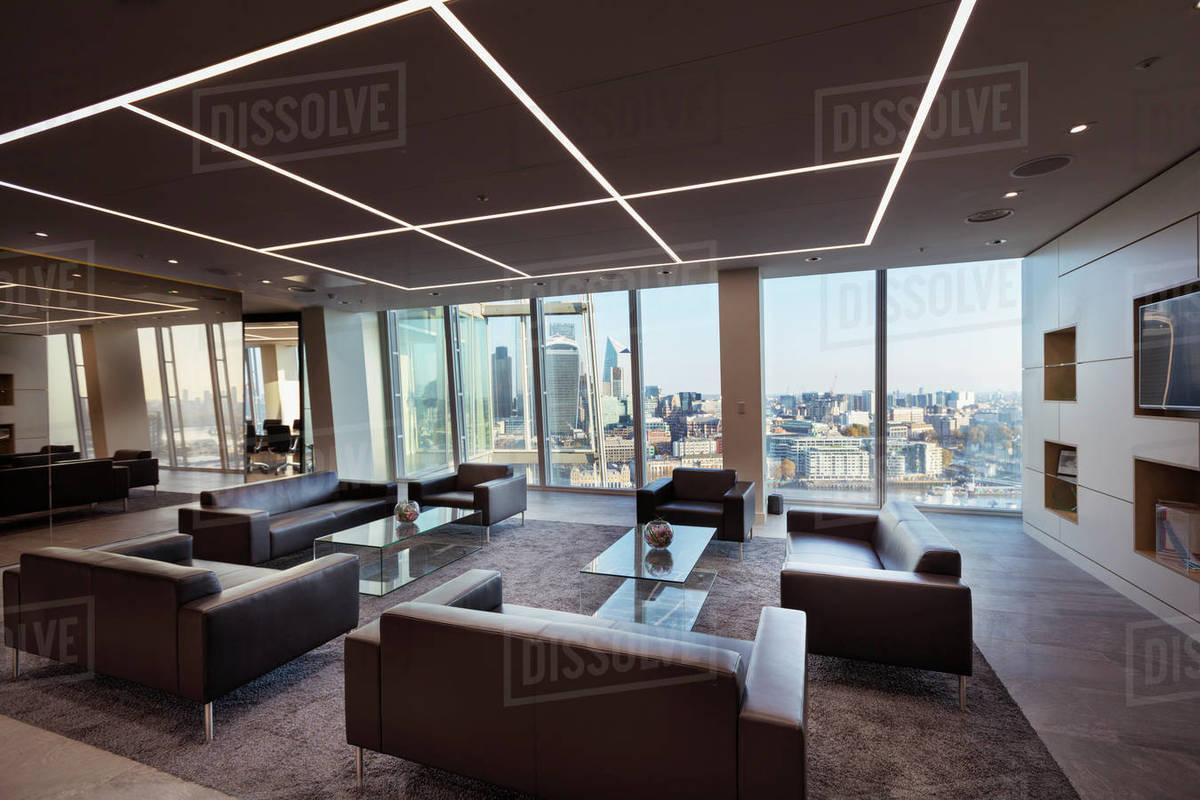Modern urban highrise office lobby Royalty-free stock photo
