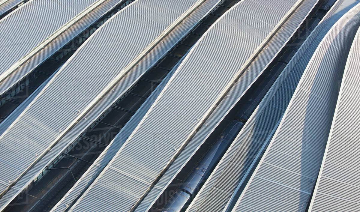 Corrugated train station rooftops Royalty-free stock photo
