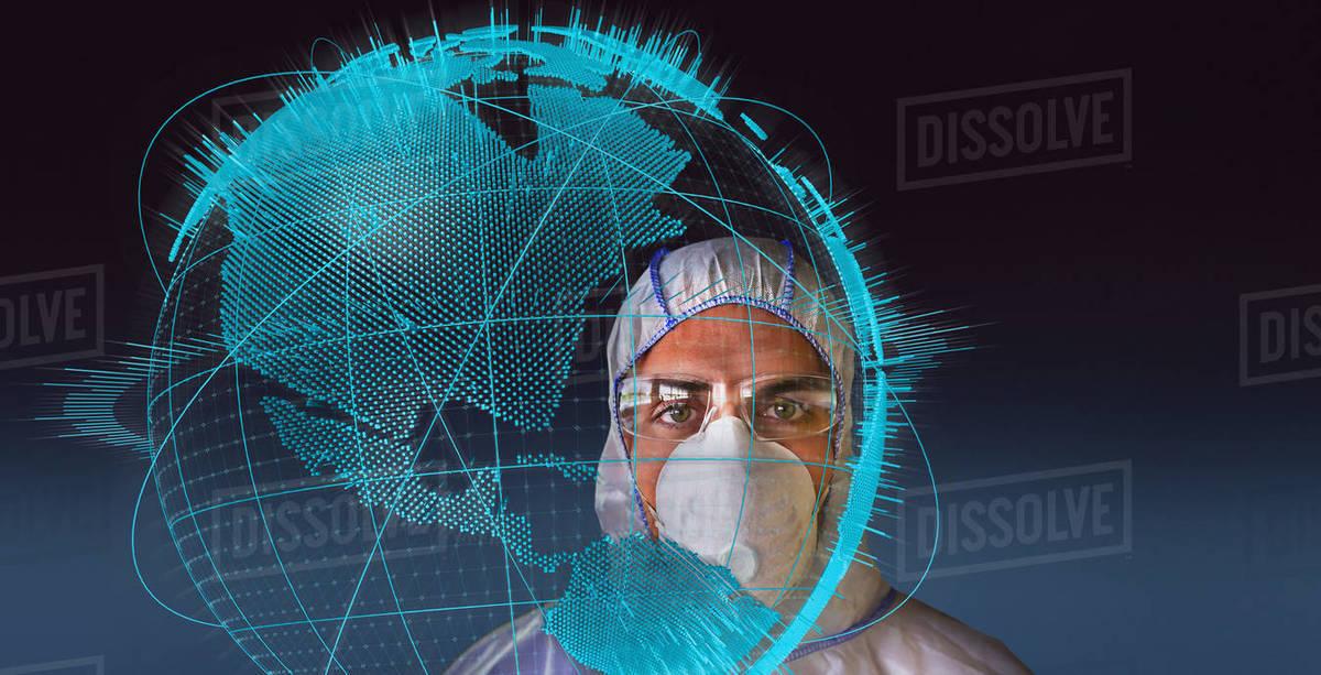 Portrait scientist in clean suit during global coronavirus pandemic Royalty-free stock photo