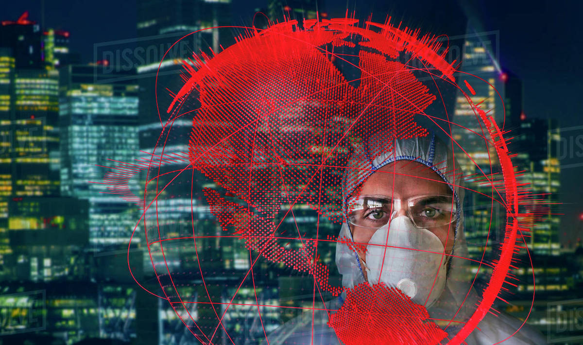Portrait confident scientist in flu mask behind global pandemic Royalty-free stock photo