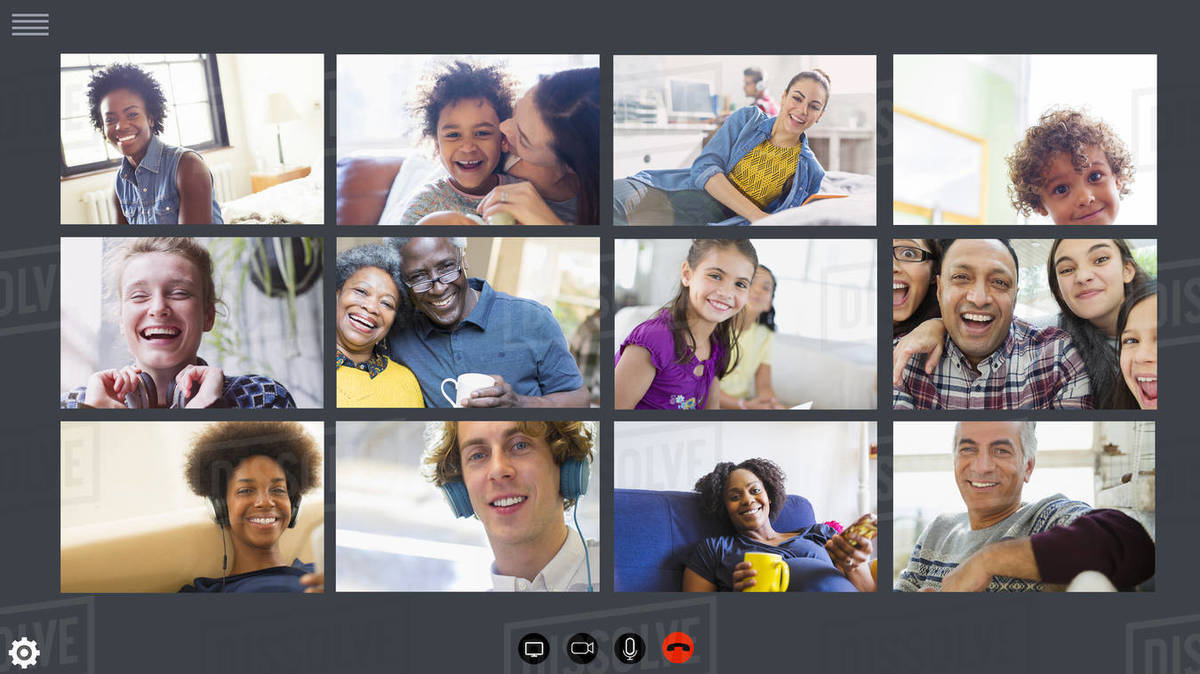 Happy families and friends video conferencing COVID-19 quarantine Royalty-free stock photo