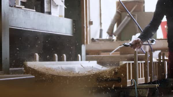 Medium shot of a man working in workshop Royalty-free stock video