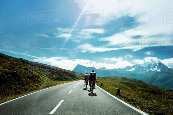 Cyclists on a mountain road, Tirol, Austria Royalty-free stock photo
