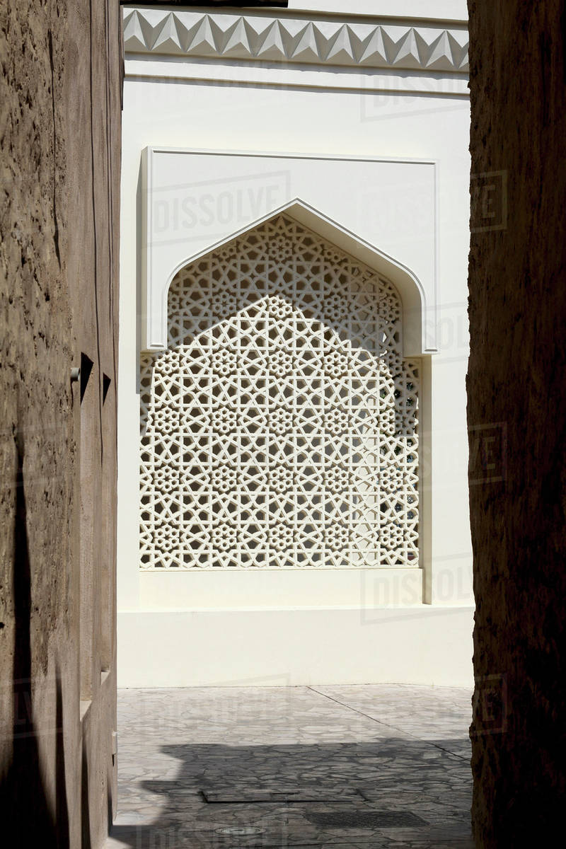 arabesque lattice window in dubai united arab emirates stock