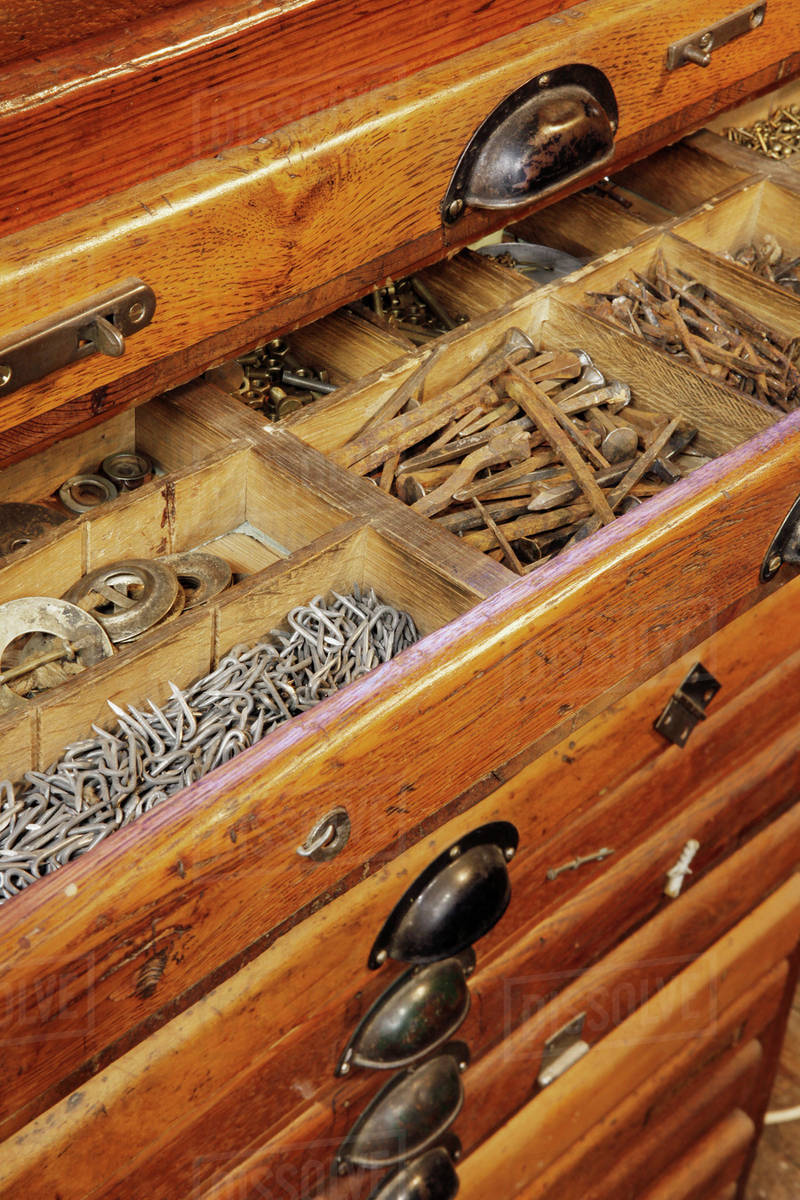 Antique Woodworkers Tool Cabinet Drawer Filled With Various Carpentry  Materials