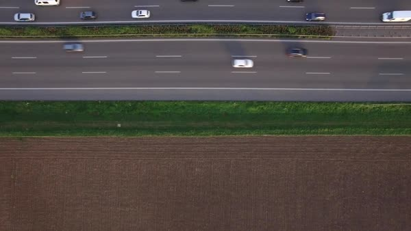 Drone shot of vehicles moving on highway, Heilbronn, Baden-Wuerttemberg, Germany Royalty-free stock video