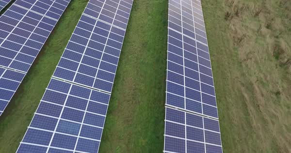 Drone shot of solar panels on field, Bayreuth, Bayern, Germany Royalty-free stock video