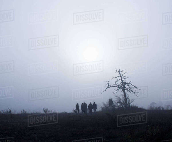 Silhouette people by bare tree on field against sky Royalty-free stock photo