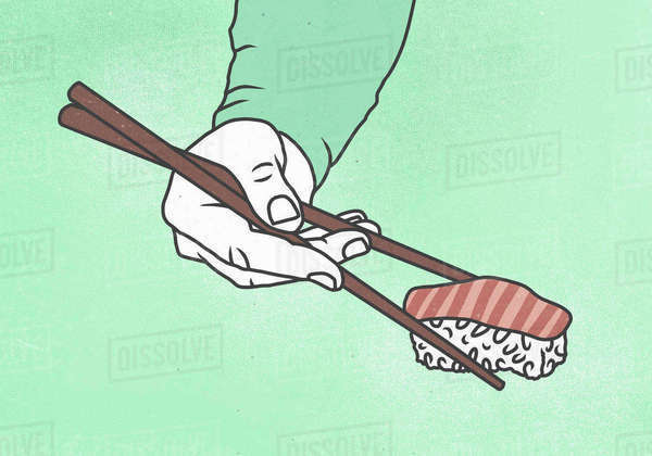 Illustration of man hand holding sushi with chop sticks against colored background Royalty-free stock photo