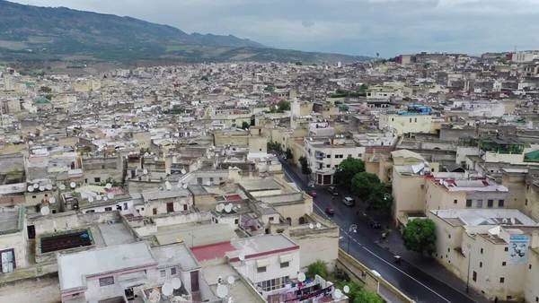 Fez, Morocco: High angle view of cityscape Royalty-free stock video