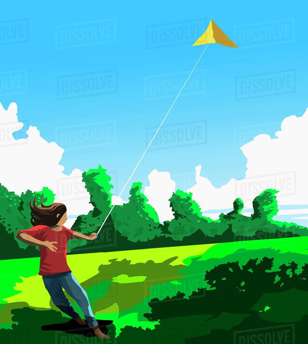 Girl flying kite in sunny park Royalty-free stock photo