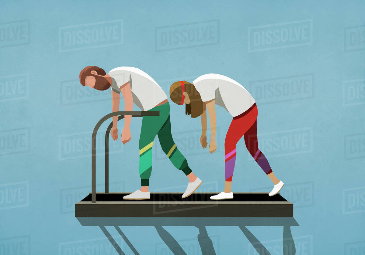 Tired couple walking on treadmill Royalty-free stock photo