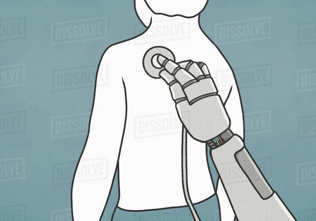 Robot with stethoscope examining back of man Royalty-free stock photo