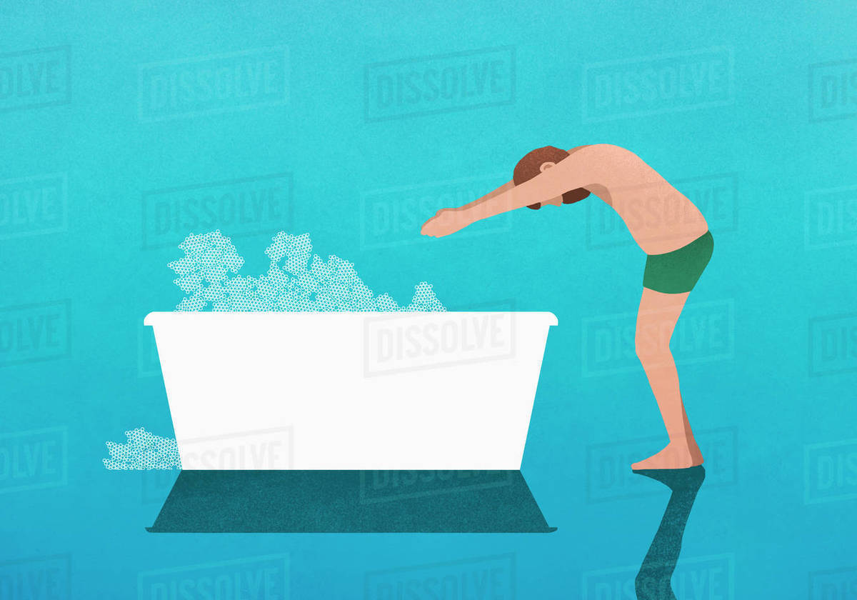 Man preparing to dive into bubble bath Royalty-free stock photo
