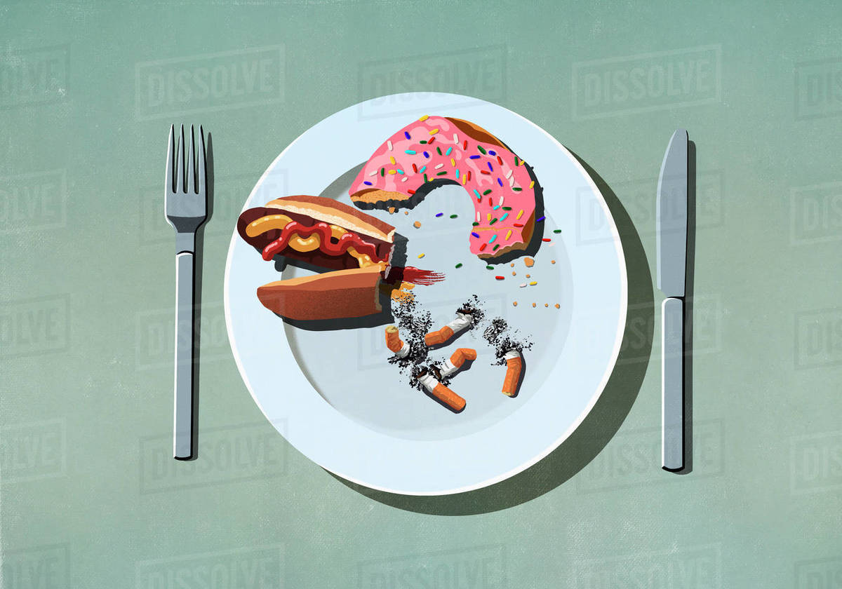 Half-eaten hot dog, donut and cigarette butts on plate Royalty-free stock photo