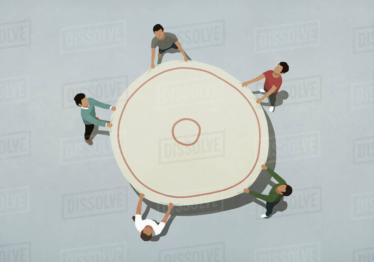 View from above team holding safety net Royalty-free stock photo