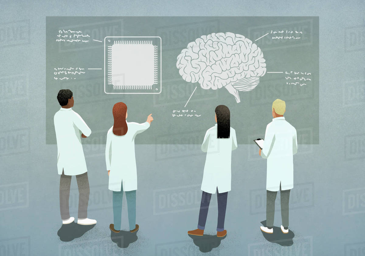 Scientists comparing computer chip and brain diagram Royalty-free stock photo
