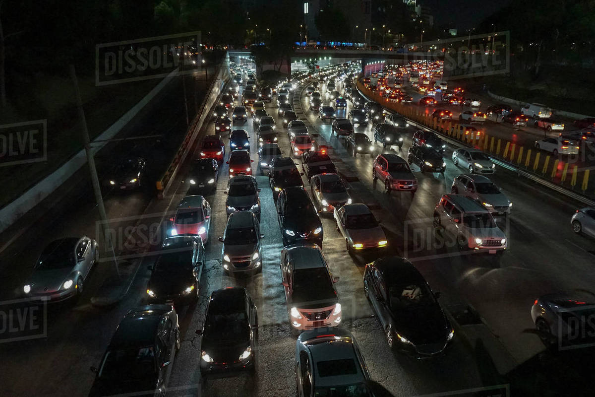 Rush hour traffic on freeway at night, Mexico City, Mexico Royalty-free stock photo