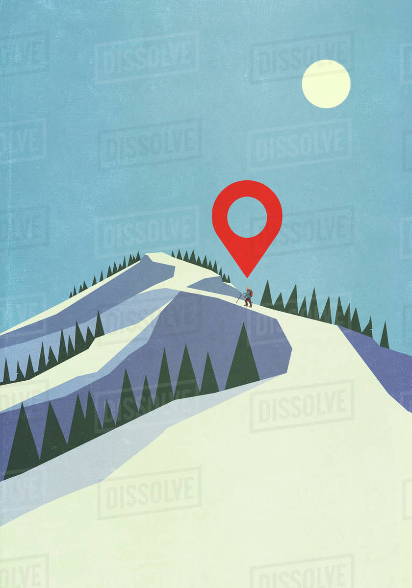 Map pin icon above person mountaineering on snowy mountain Royalty-free stock photo