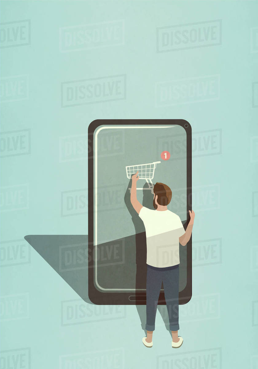 Man online shopping with mobile app on large smart phone Royalty-free stock photo