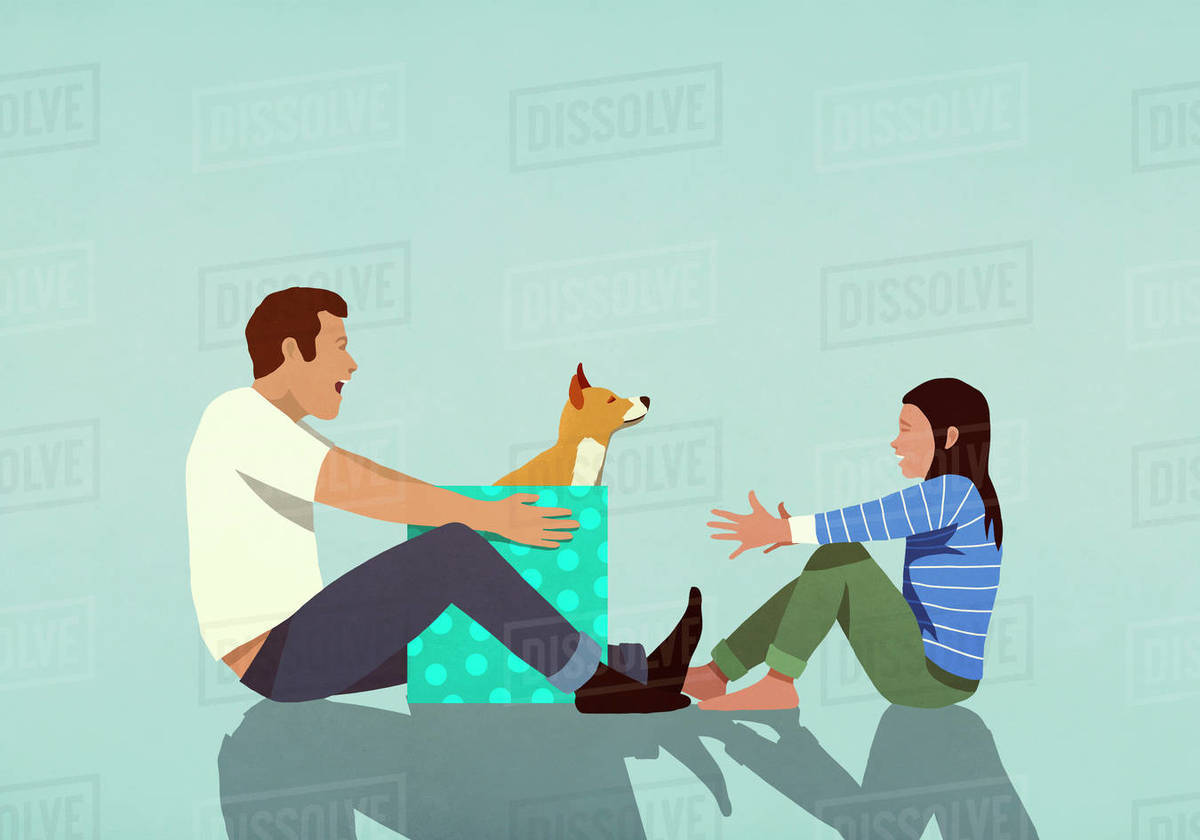 Father surprising daughter with puppy gift Royalty-free stock photo